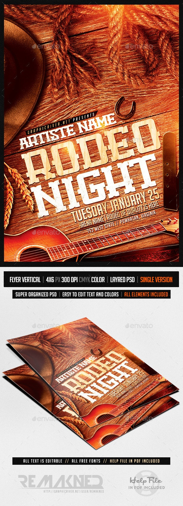Rodeo Night | Flyer Template PSD - Events Flyers