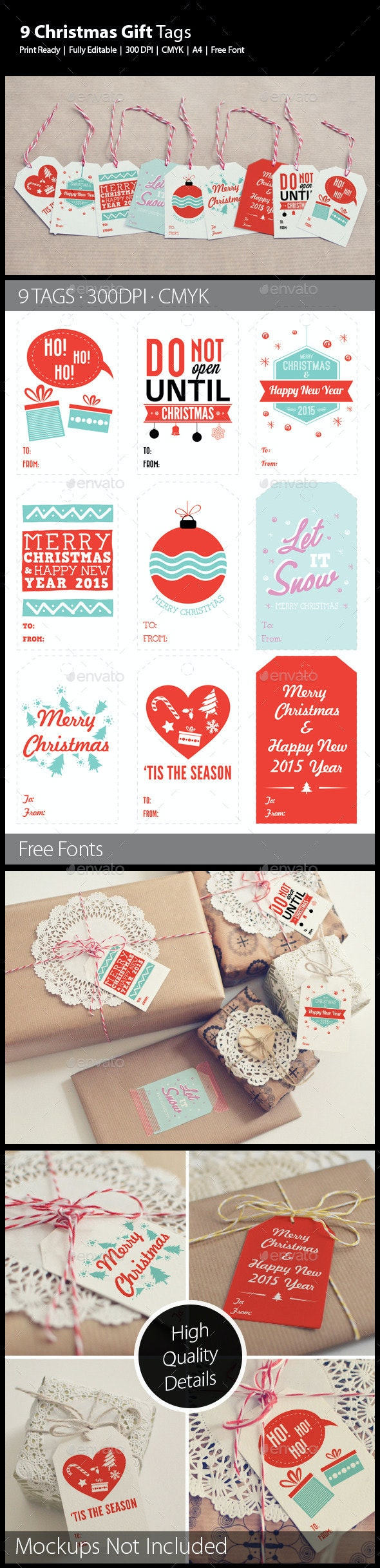 9 Christmas Gift Tags - Holiday Greeting Cards