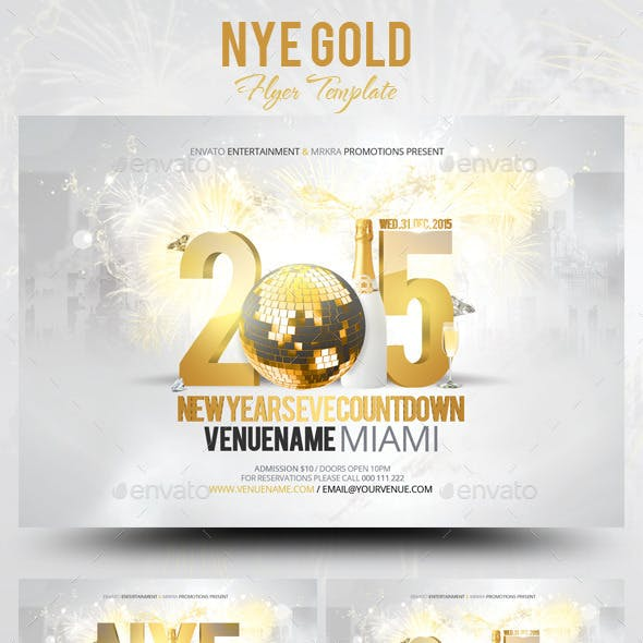 NYE New Years Eve Gold Flyer Template