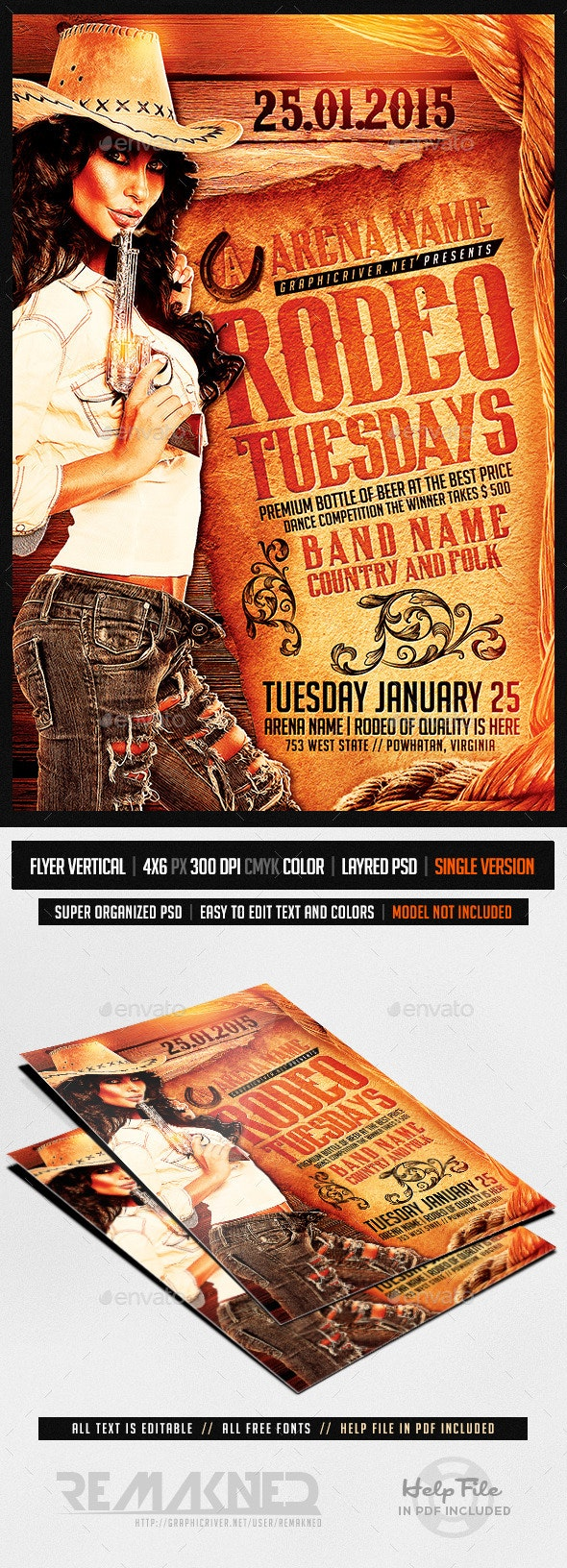 Rodeo Tuesdays | Flyer Template PSD - Events Flyers