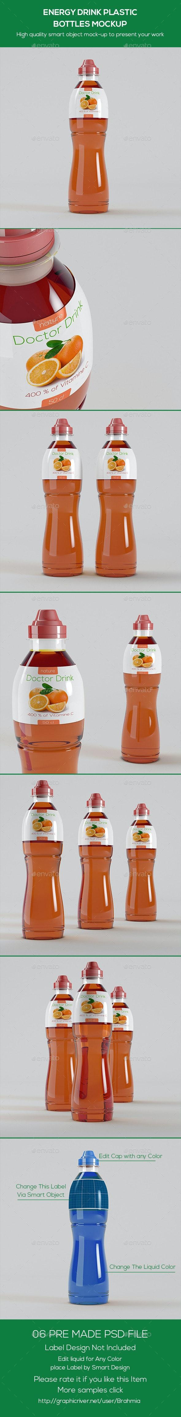Energy Drink Plastic Bottles Mockup - Miscellaneous Packaging