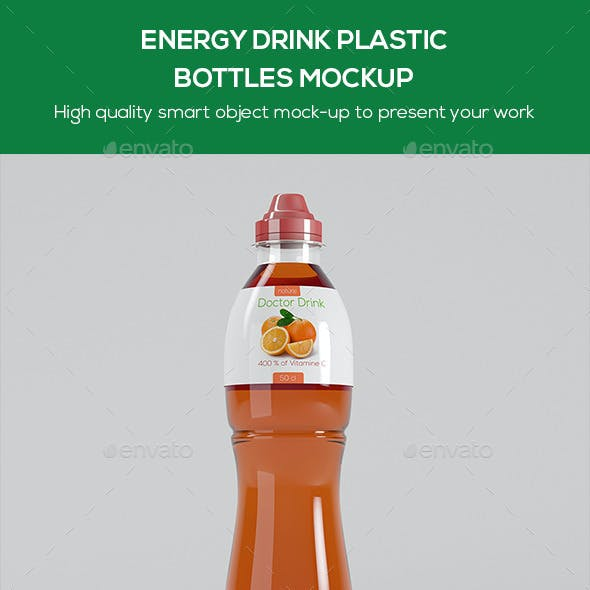 Energy Drink Plastic Bottles Mockup