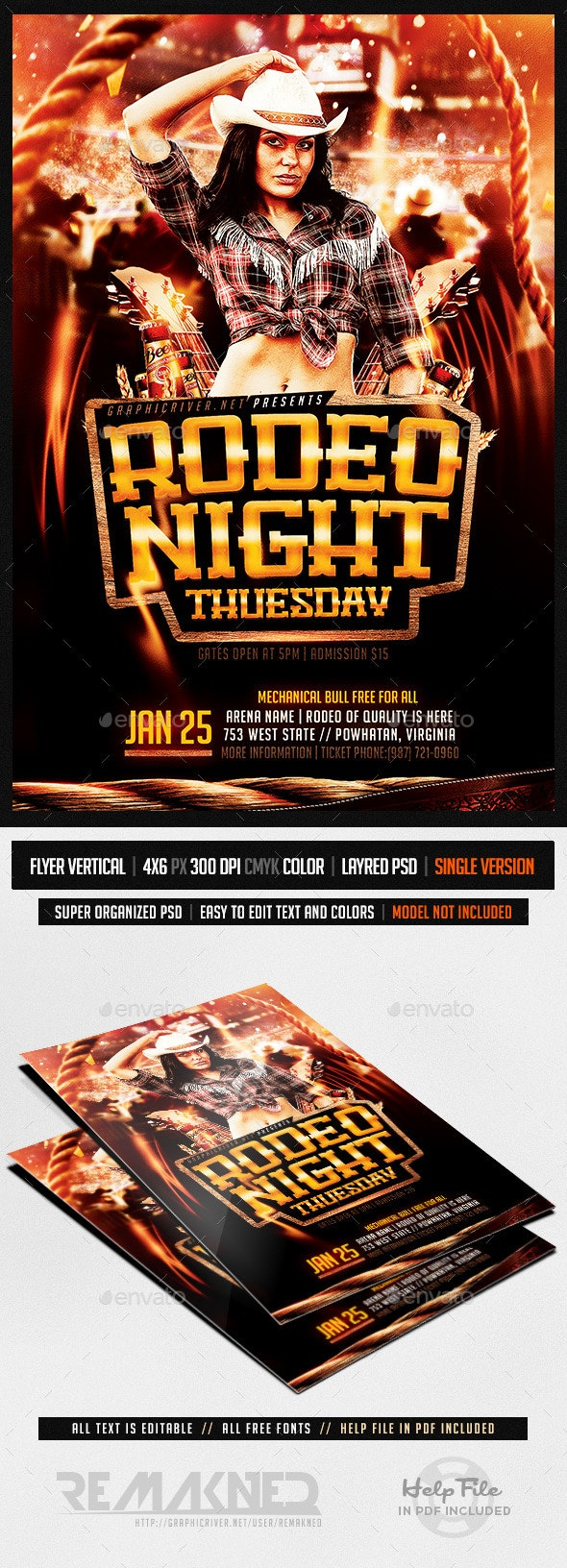 Rodeo Night Tuesdays | Flyer Template PSD - Events Flyers