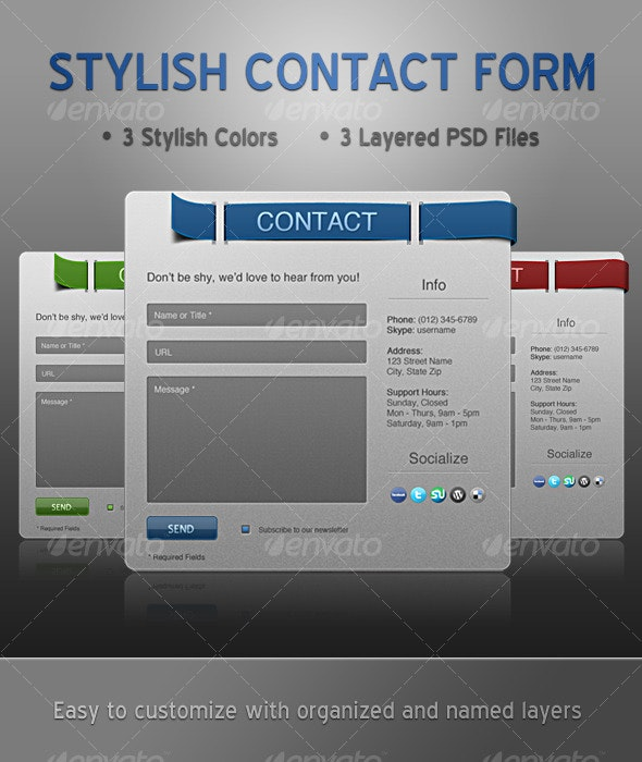 Stylish Contact Form - 3 Colors - Forms Web Elements