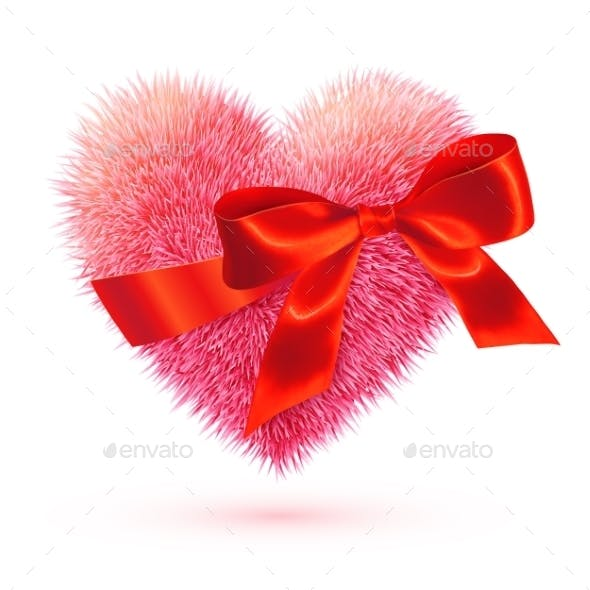 Pink Fluffy Heart with Red Bow