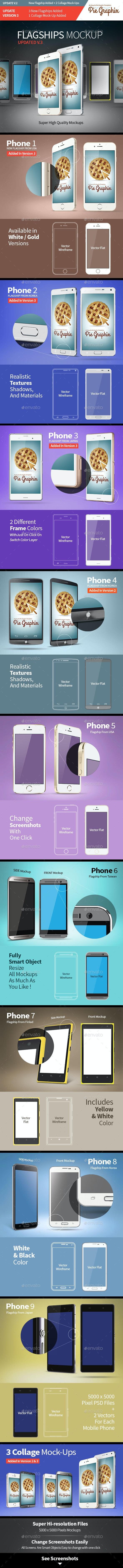 Flagship Smartphones Mock-Up - Mobile Displays