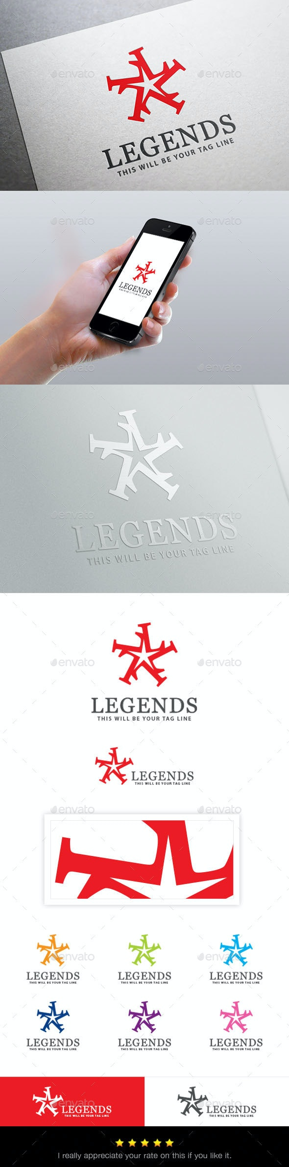 Star Logo (Star created by letter - L) - Symbols Logo Templates