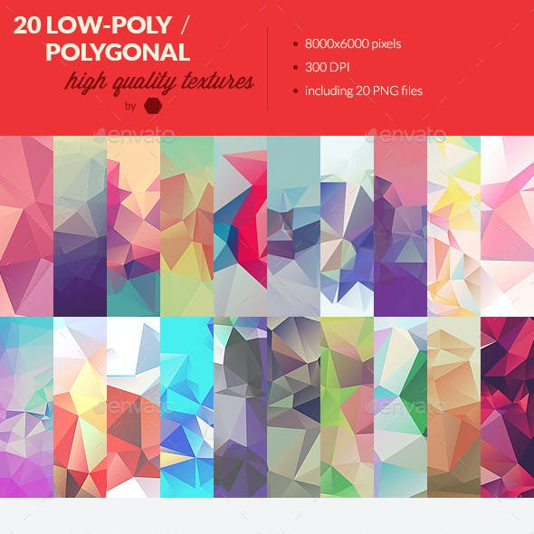 20 Low-Poly Polygonal Background Textures #3