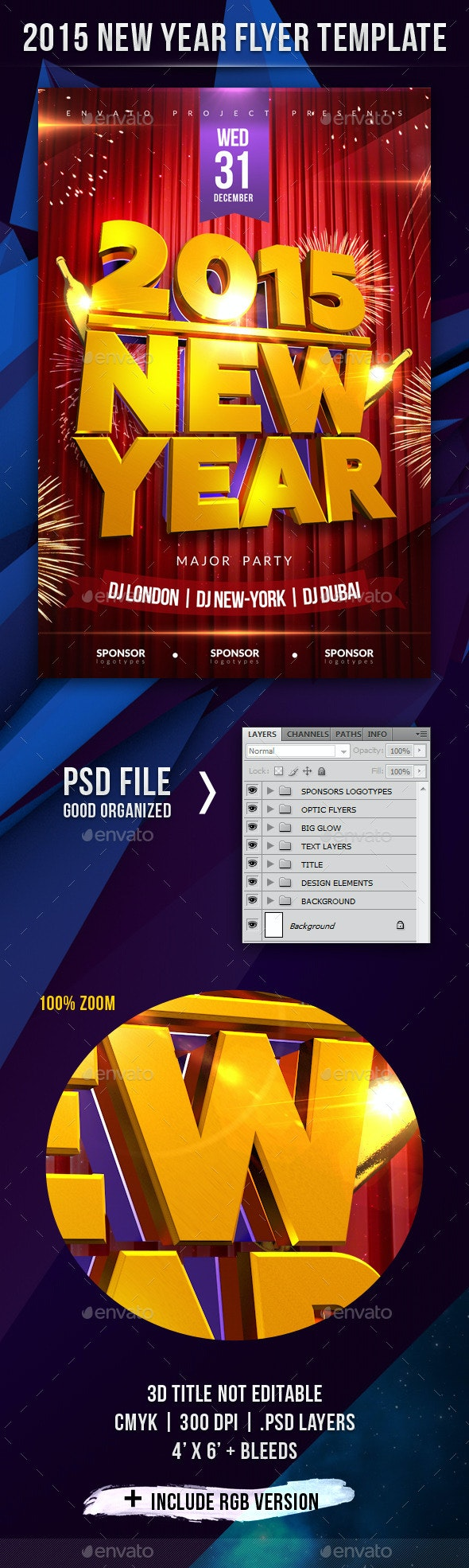 2015 New Year Flyer Template with 3D Title - Holidays Events