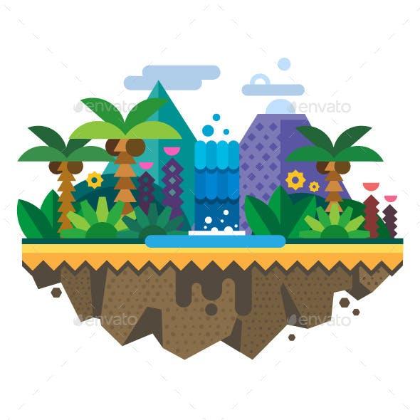 Tropical Landscape Jungle Flat Illustration
