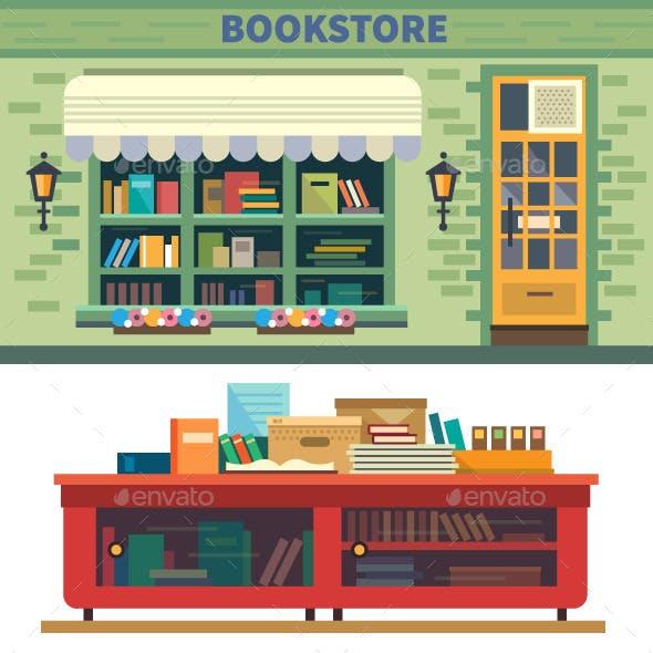 Bookstore Flat Illustration
