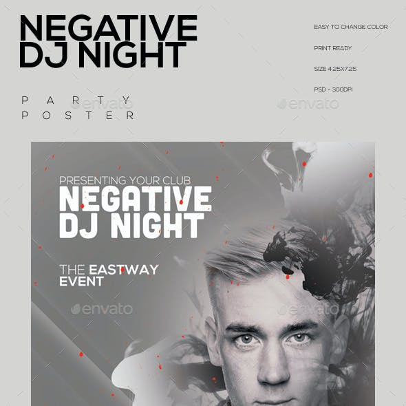 Negative Dj Night Party Flyer