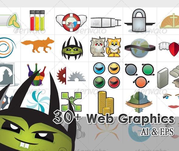 30 Web Elements and Illustrations - Miscellaneous Vectors