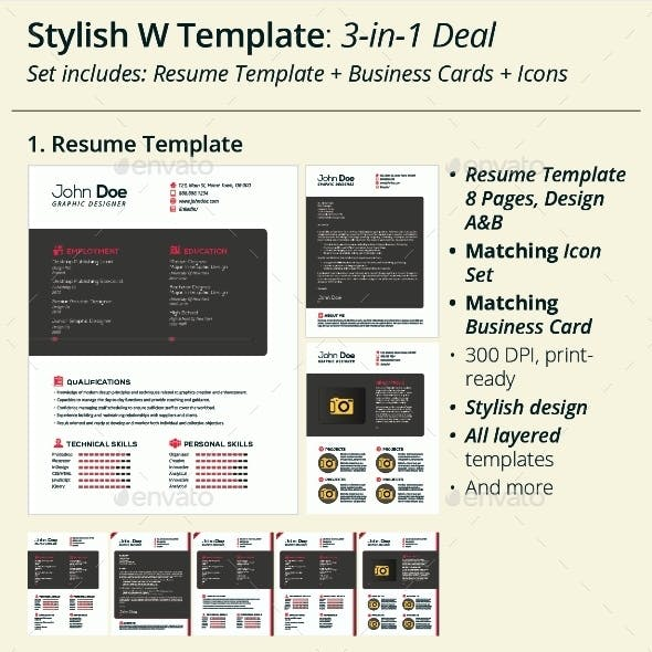 3-in-1 Deal: Resume Template + Icons + Business Card, Stylish W Template