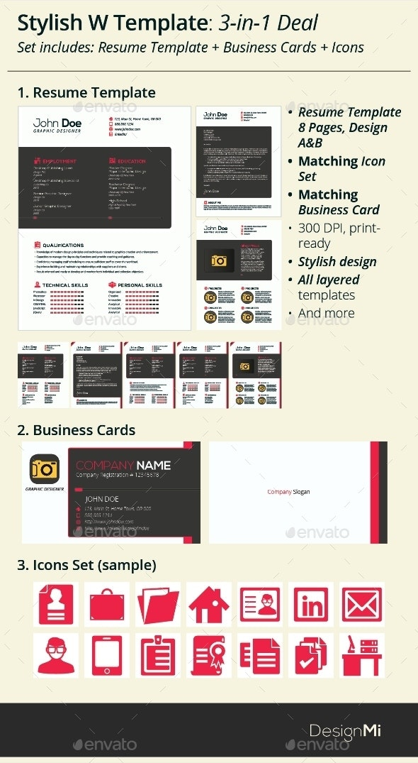 3-in-1 Deal: Resume Template + Icons + Business Card, Stylish W Template - Resumes Stationery