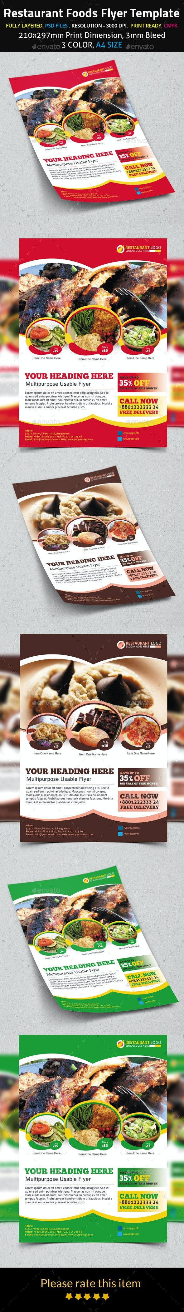Restaurant Foods Flyer Template - Flyers Print Templates