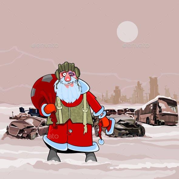 Santa Claus at the Dump Wrecked Cars