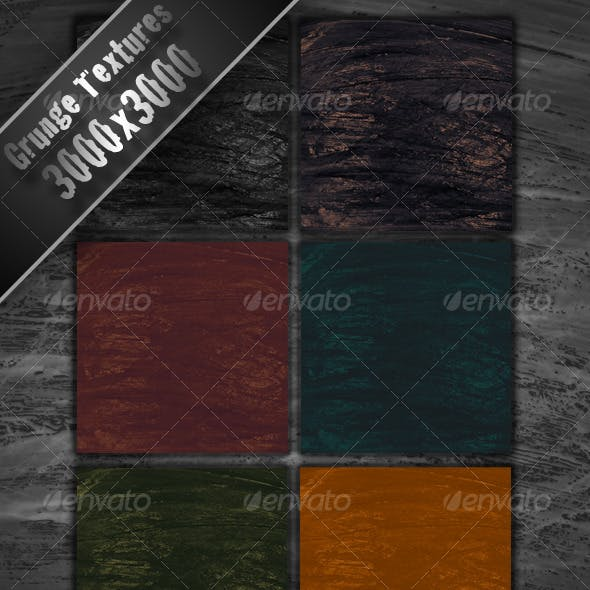 6 Colored Grunge Textures 3000x3000