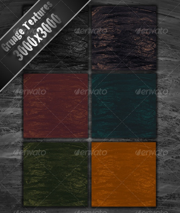 6 Colored Grunge Textures 3000x3000 - Industrial / Grunge Textures