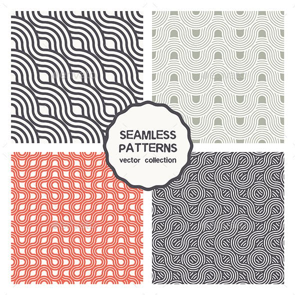 Vector Set of Four Geometric Seamless Patterns