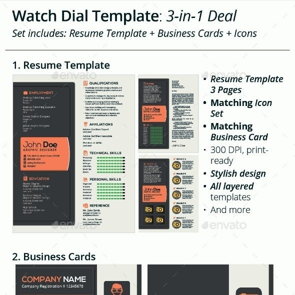 3-in-1 Deal: Resume Template + Icons + Business Card, Watch Dial Template