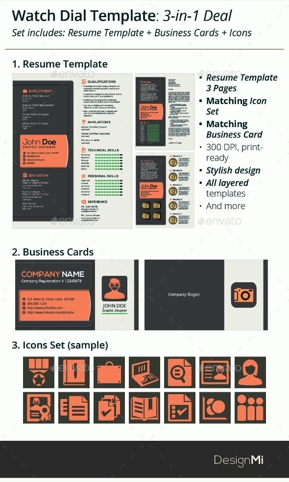 3-in-1 Deal: Resume Template + Icons + Business Card, Watch Dial Template - Resumes Stationery