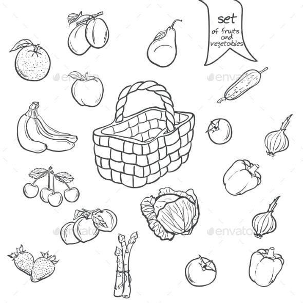 Set of Fruits and Vegetables with a Basket