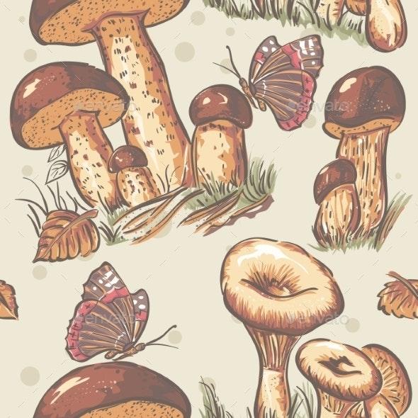 Autumn Seamless Texture of Mushrooms - Flowers & Plants Nature