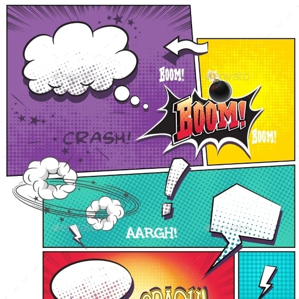 Comic Book Pages with Different Speech Bubbles