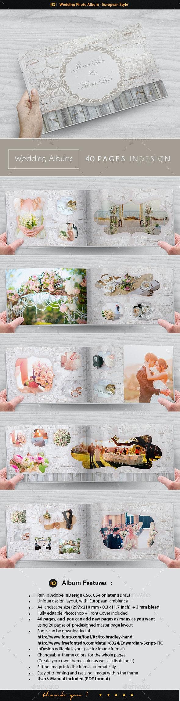 Wedding Photo Album Template - European Style - Photo Albums Print Templates