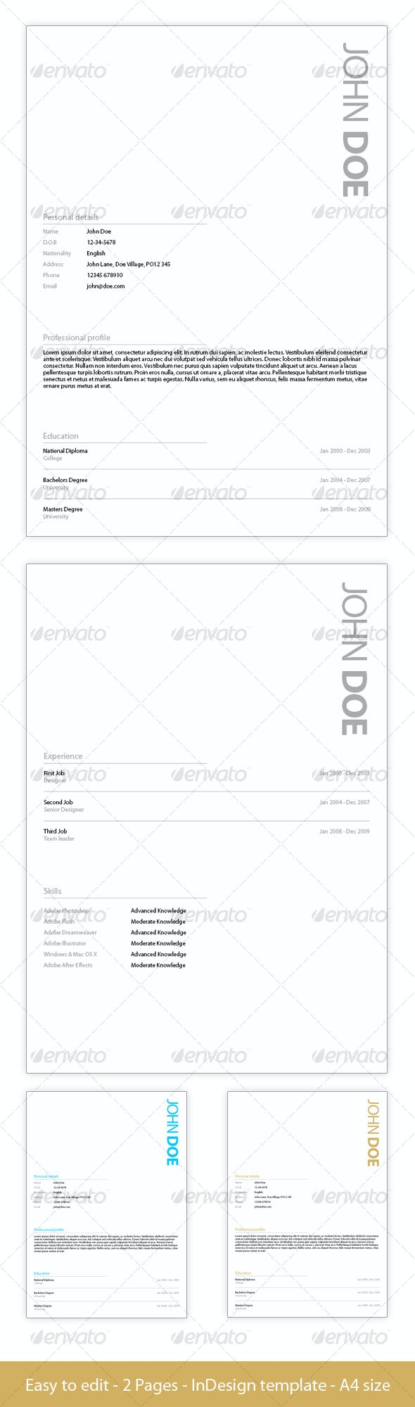 Simple Application template - 3 Colours - Resumes Stationery