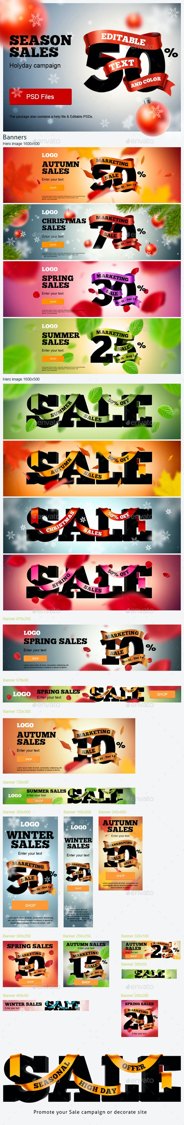 Season Sales Ads Kit - Banners & Ads Web Elements
