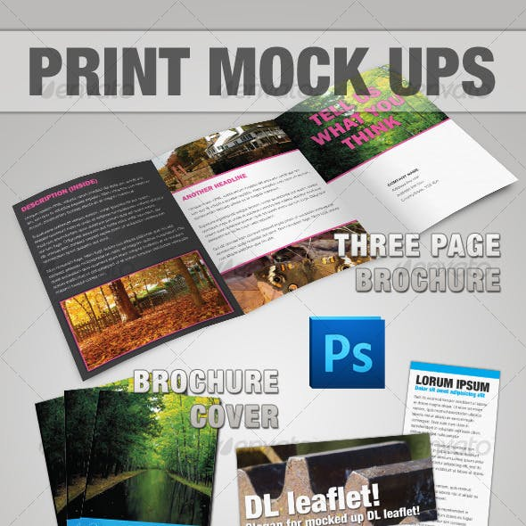 Brochure & Leaflet Mock-up - Photoshop