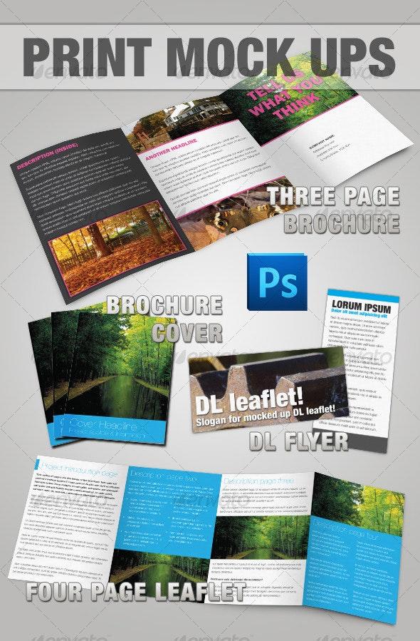 Brochure & Leaflet Mock-up - Photoshop - Brochures Print