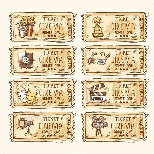 Cinema ticket set