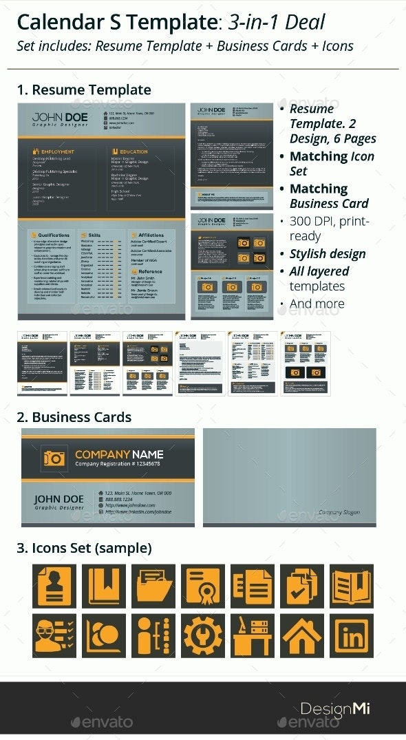 3-in-1 Deal: Resume Template + Icons + Business Card, Calendar S Template - Resumes Stationery