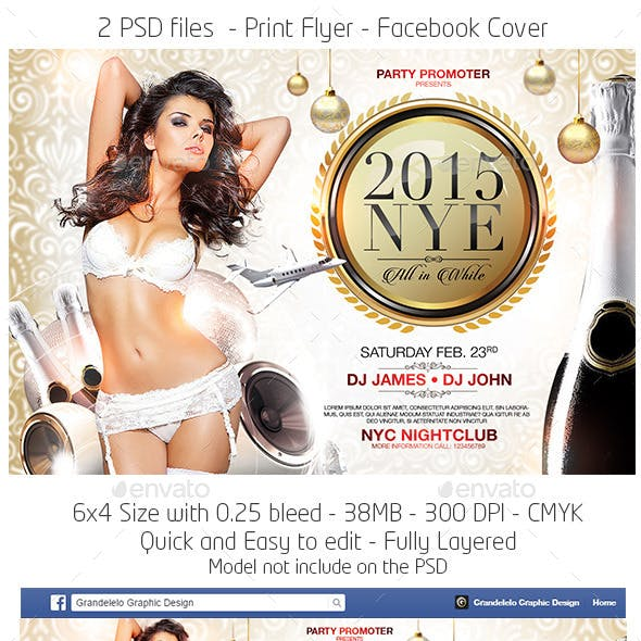 All in White New Year Party Flyer Template
