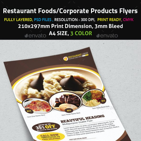 Restaurant Foods/Corporate Products Flyers