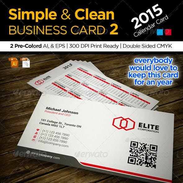 Calendar 2015 Business Card