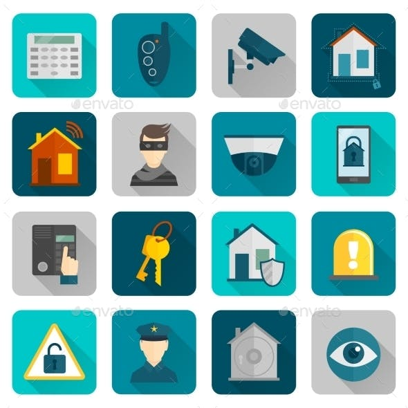 Home Security Icons Flat