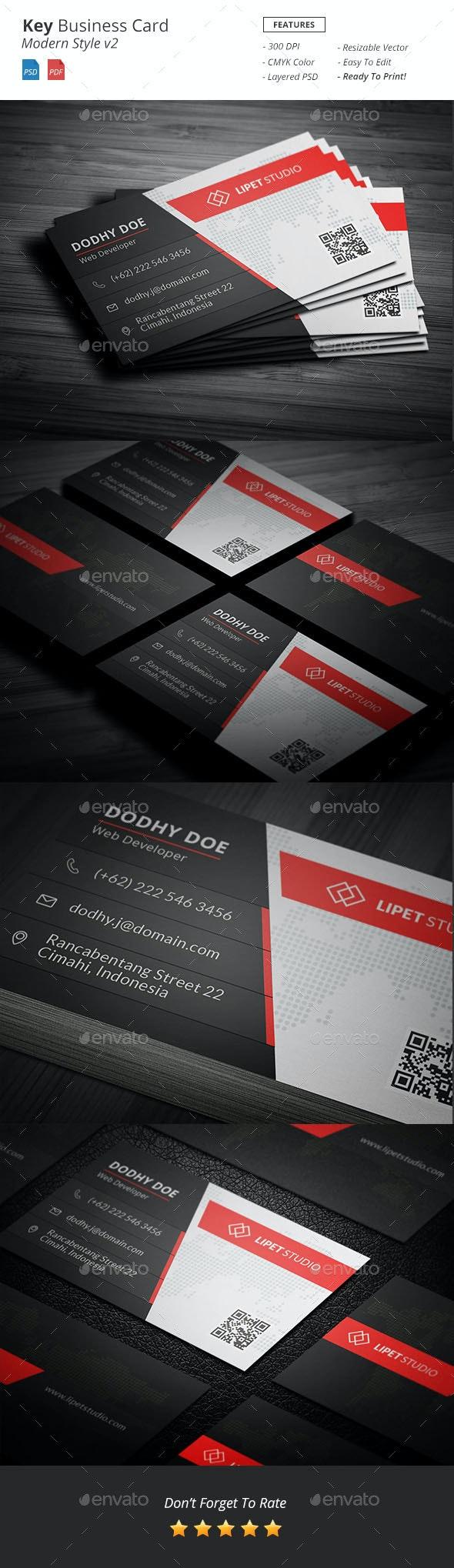 Key - Modern Business Card Template v2 - Business Cards Print Templates