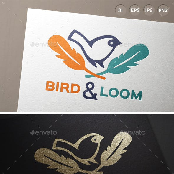 Bird Feather Hipster Logo