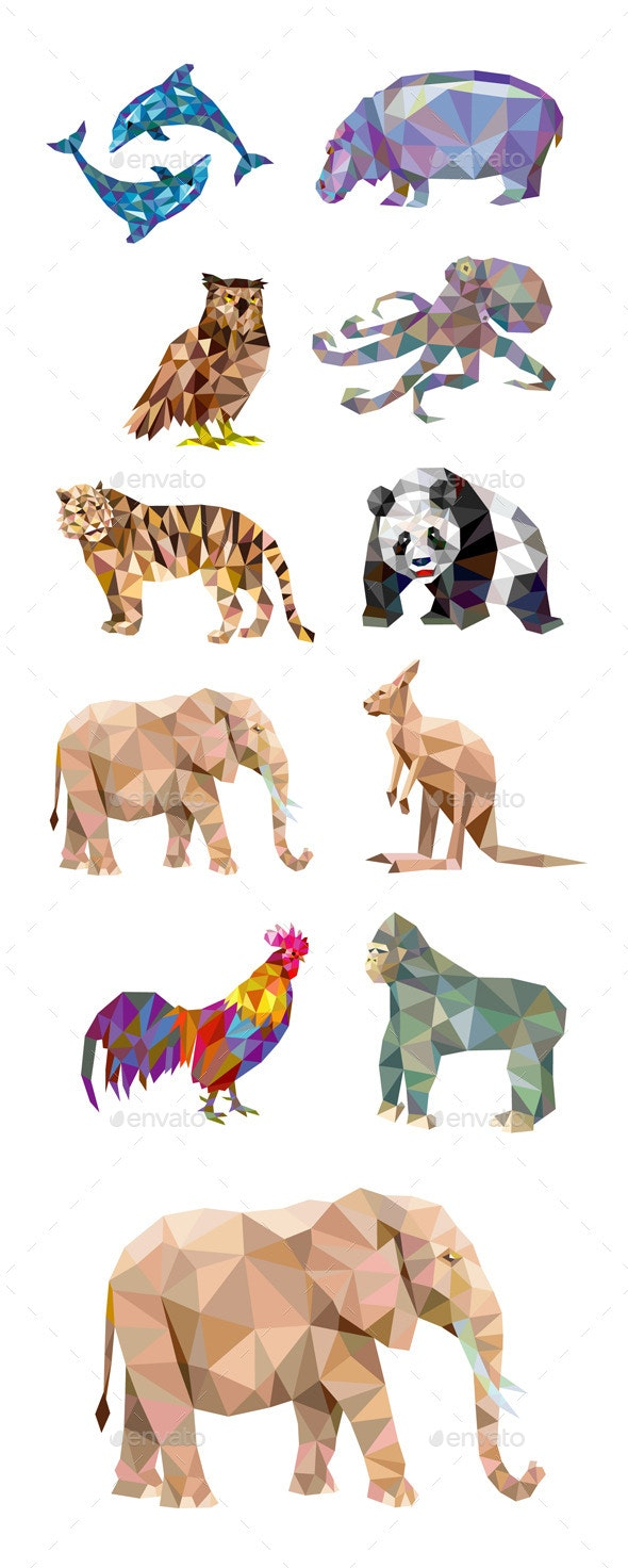 10 Low Poly Animal Series - Animals Characters