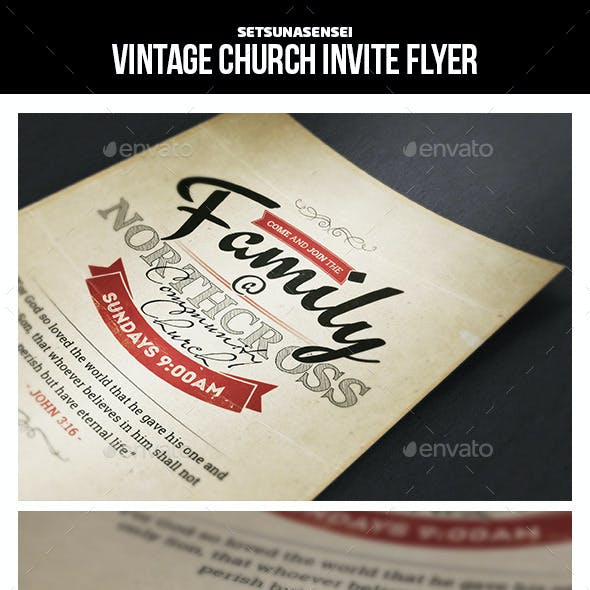 Vintage Church Invite Flyer