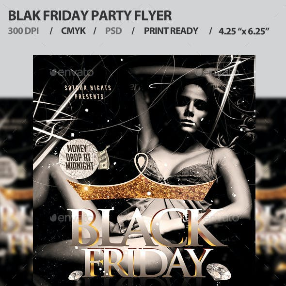 Black Friday Party Flyer Template PSD