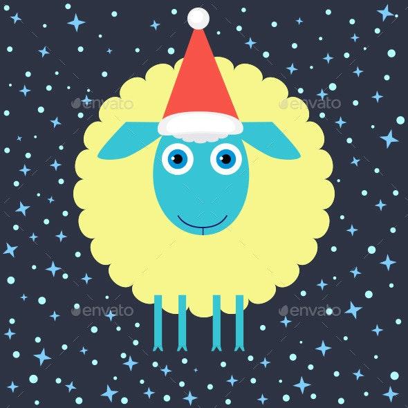 Flat Design Christmas Lamb - Animals Characters