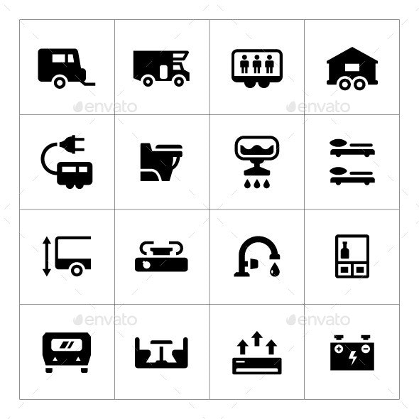 Set Icons of Camper, Caravan, Trailer - Man-made objects Objects