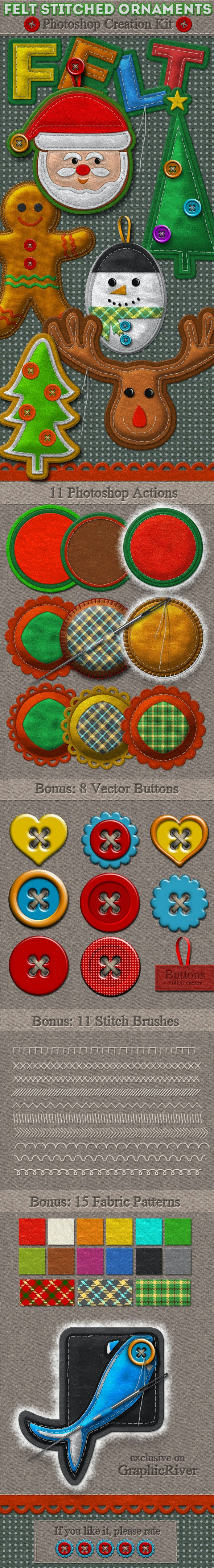 Felt Stitched Ornaments Photoshop Creation Kit - Utilities Actions