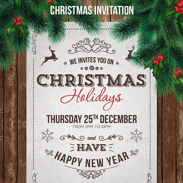 Vintage Christmas Invitation