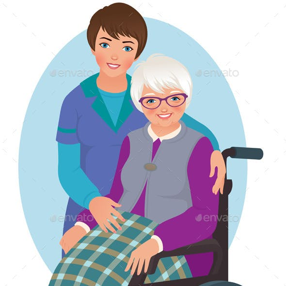 Elderly Woman and Nurse